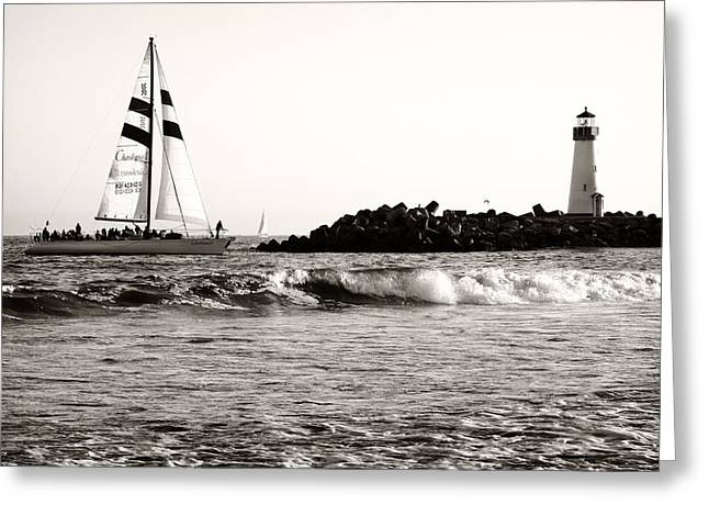 Santa Cruz Sailboat Greeting Cards - Sailboat And Lighthouse 2 Greeting Card by Marilyn Hunt