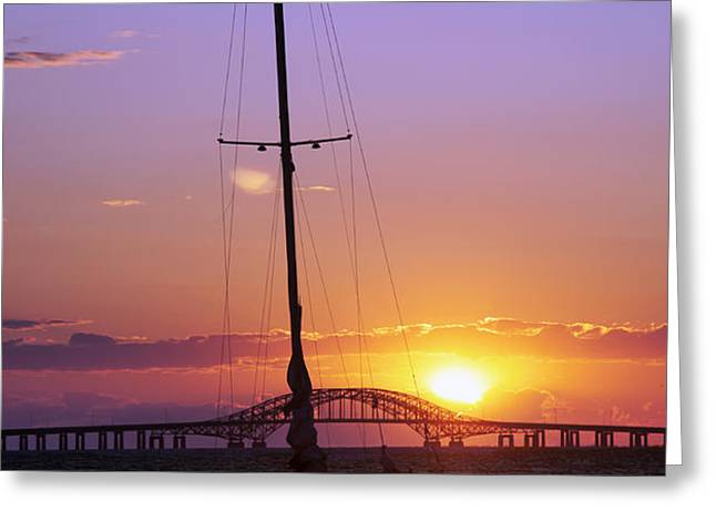Sailboat and the Bridge at Sunrise Greeting Card by Vicki Jauron