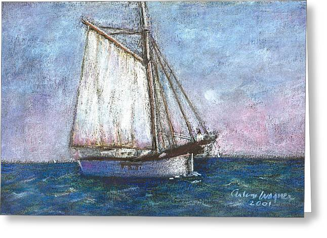 Nautical Pastels Greeting Cards - Sailboat Greeting Card by Arline Wagner
