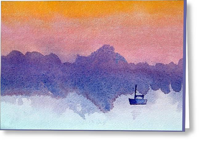 Sailboat Images Greeting Cards - Sailboat at Dawn Greeting Card by Paul Thompson