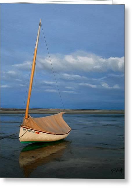 Sailboat Ocean Greeting Cards - Sailboat at Lowtide Greeting Card by Sue  Brehant