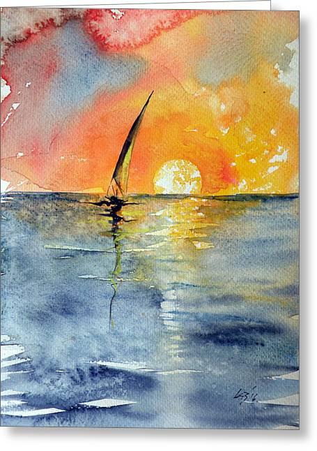 Sailboat At Sunrise Greeting Card by Kovacs Anna Brigitta