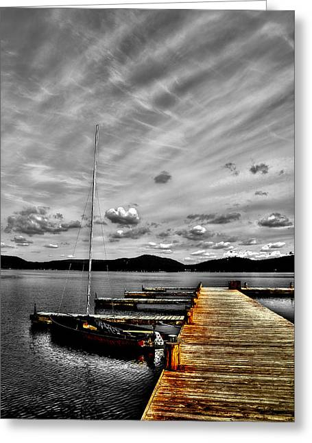 Boats At The Dock Greeting Cards - Sailboat at the Dock Greeting Card by David Patterson