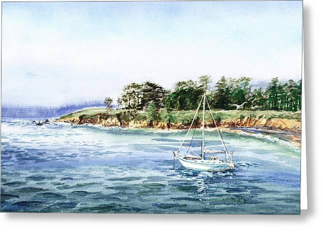 Californian Greeting Cards - Sailboat At The Seashore Greeting Card by Irina Sztukowski