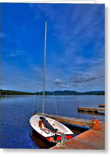 Docked Sailboats Photographs Greeting Cards - Sailboat at The Woods Inn Greeting Card by David Patterson