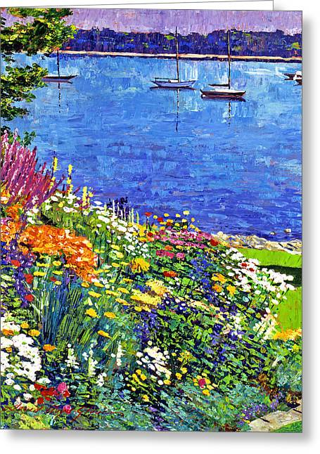 Painterly Greeting Cards - Sailboat Bay Garden Greeting Card by David Lloyd Glover