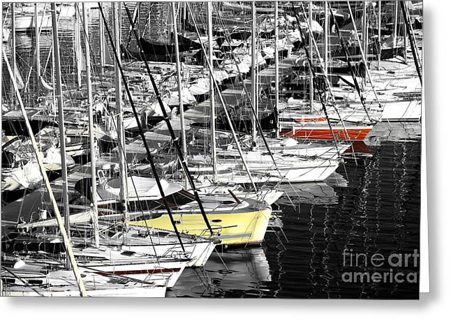 Yellow Sailboats Photographs Greeting Cards - Sailboat Colors Fusion Greeting Card by John Rizzuto