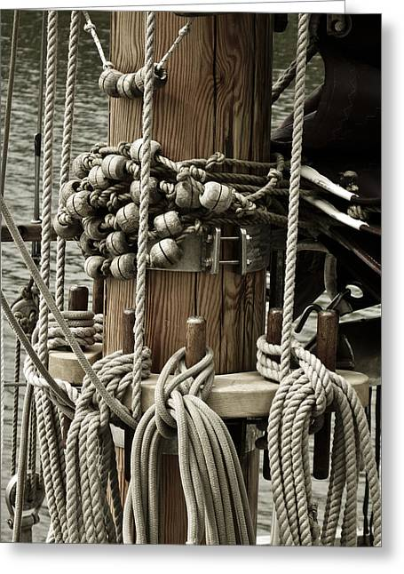 Sailboat Art Greeting Cards - Sailboat Detail 3952 Greeting Card by Frank Tschakert