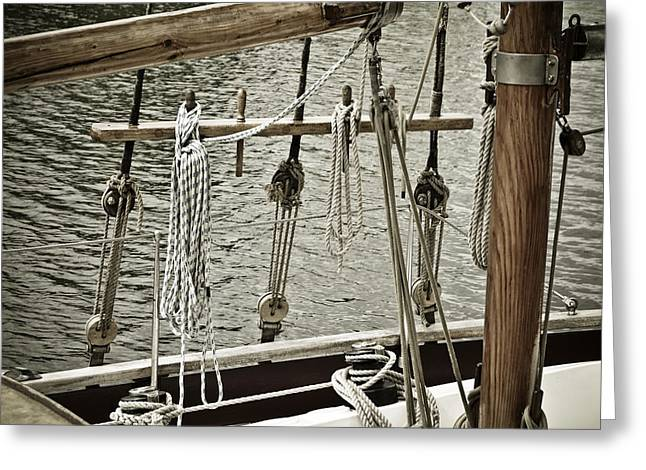 Sailboat Art Greeting Cards - Sailboat Detail 3954 Greeting Card by Frank Tschakert