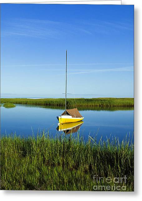 Cape Cod Bay Greeting Cards - Sailboat in Cape Cod Bay Greeting Card by John Greim