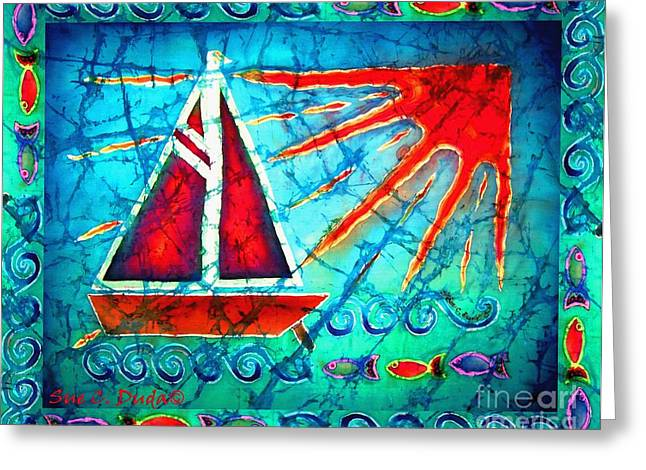 Wave Tapestries - Textiles Greeting Cards - Sailboat in the Sun Greeting Card by Sue Duda