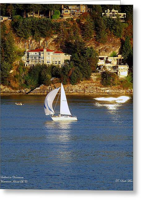 Sailboat Ocean Greeting Cards - Sailboat in Vancouver Greeting Card by Robert Meanor