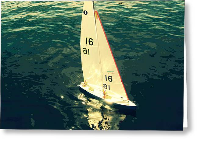 Toy Boat Greeting Cards - Sailboat Greeting Card by Kazumi Whitemoon