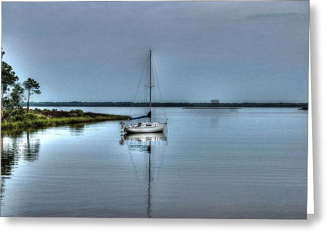 Crimson Tide Digital Art Greeting Cards - Sailboat off Plash Greeting Card by Michael Thomas