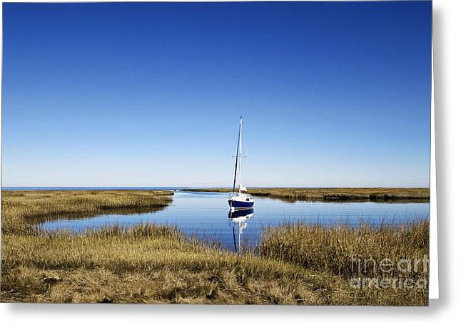 Cape Cod Bay Greeting Cards - Sailboat on Cape Cod Bay Greeting Card by John Greim