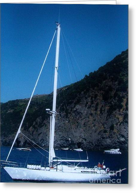 Sailboat Photos Digital Art Greeting Cards - Sailboat On Mediterranian Greeting Card by Marsha Heiken
