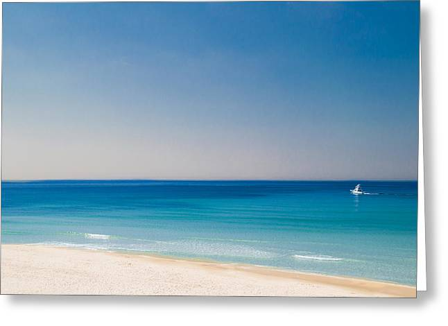Alabaster Greeting Cards - Sailboat on the Beach Greeting Card by Shelby  Young
