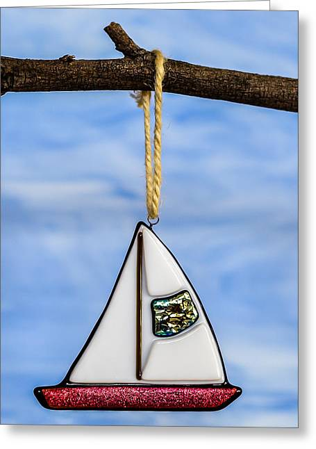Sail Glass Greeting Cards - Sailboat Ornament Greeting Card by Tamera Wohlever