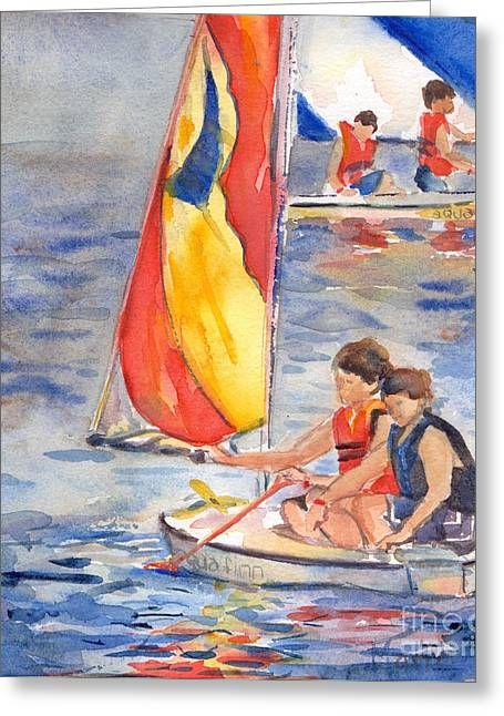 Summer Camps Greeting Cards - Sailboat Painting In Watercolor Greeting Card by Maria