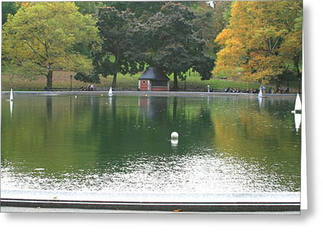 Central Greeting Cards - Sailboat Pond Panorama Greeting Card by Christopher Kirby