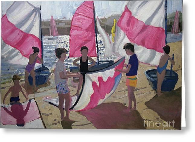 Sea Shore Greeting Cards - Sailboat Royan France Greeting Card by Andrew Macara