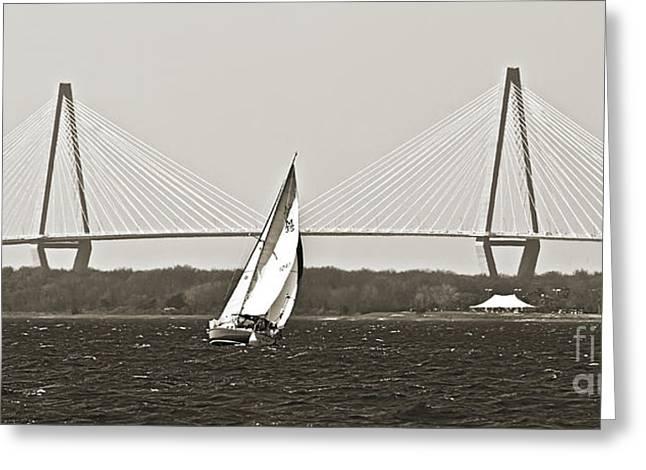 Sailboat Photographs Greeting Cards - Sailboat Sailing Cooper River Bridge Charleston SC Greeting Card by Dustin K Ryan