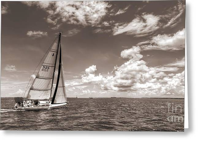 7 Greeting Cards - Sailboat Sailing on the Charleston Harbor Sepia Beneteau 40.7 Greeting Card by Dustin K Ryan