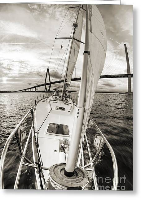 White Photographs Greeting Cards - Sailboat Sailing Past Arthur Ravenel Jr Bridge Charleston SC Greeting Card by Dustin K Ryan