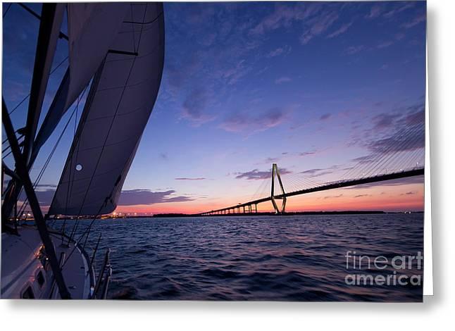 Sailboat Photographs Greeting Cards - Sailboat Sailing Sunset on the Charleston Harbor  Greeting Card by Dustin K Ryan