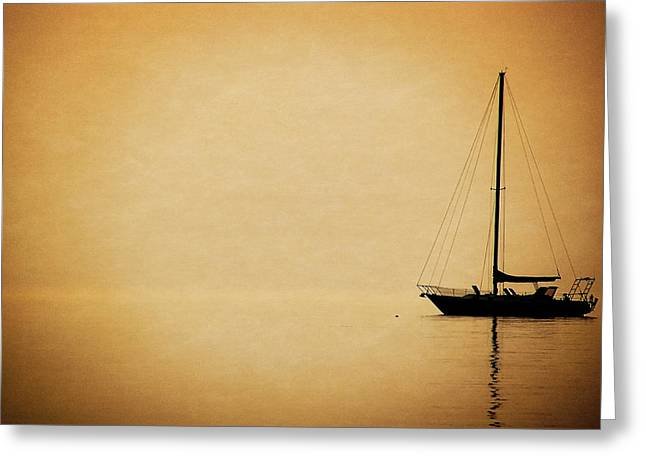 Masts Mixed Media Greeting Cards - Sailboat Silhouette Greeting Card by Maria Dryfhout