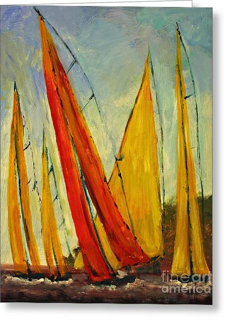 Sailboat Studies 2 Greeting Card by Julie Lueders