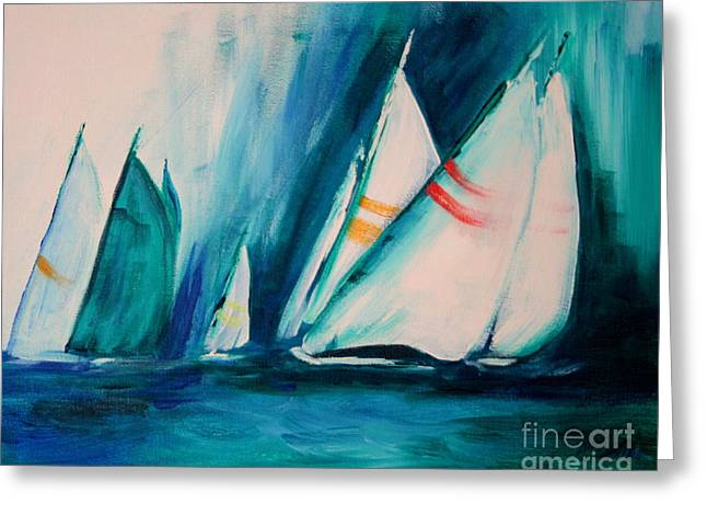 Mystic Greeting Cards - Sailboat studies Greeting Card by Julie Lueders