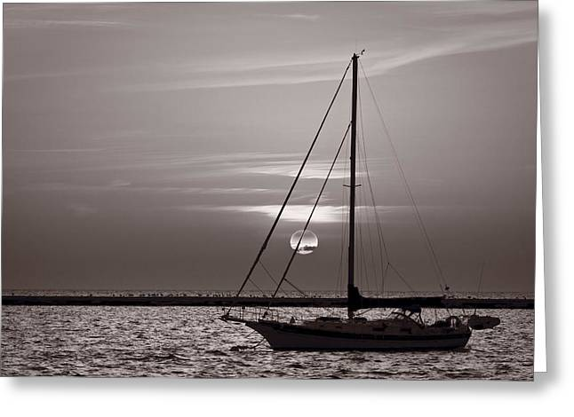 Sailboat Sunrise In B And W Greeting Card by Steve Gadomski