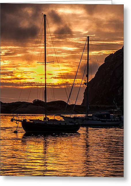 Big Sur Ca Greeting Cards - Sailboat Sunset at Morro Bay Greeting Card by Jan and Burt Williams