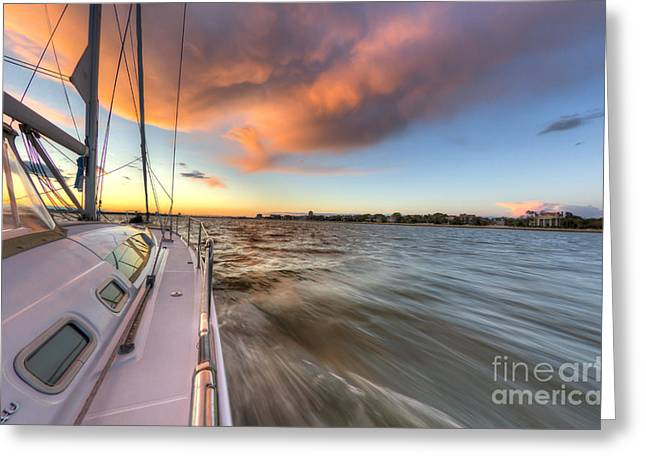 Charter Greeting Cards - Sailboat Sunset Charleston Battery Greeting Card by Dustin K Ryan