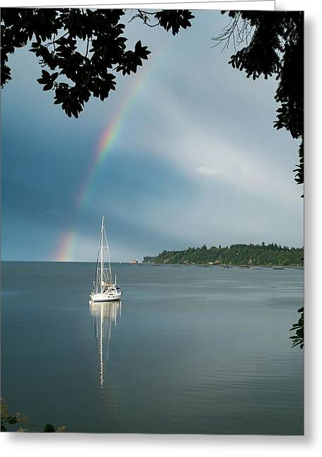 Sailboat Under The Rainbow Greeting Card by Mary Lee Dereske