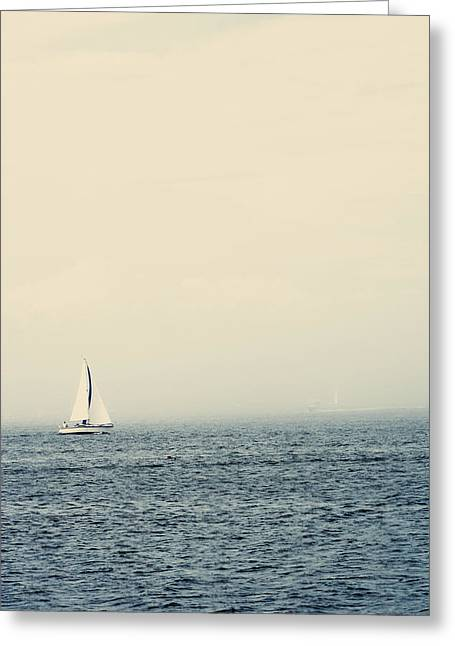 Sailboats In Water Greeting Cards - Sailboat With Fog On Water Greeting Card by Ink and Main