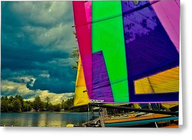 Docked Sailboats Greeting Cards - Sailboats at Camp Russell Greeting Card by David Patterson
