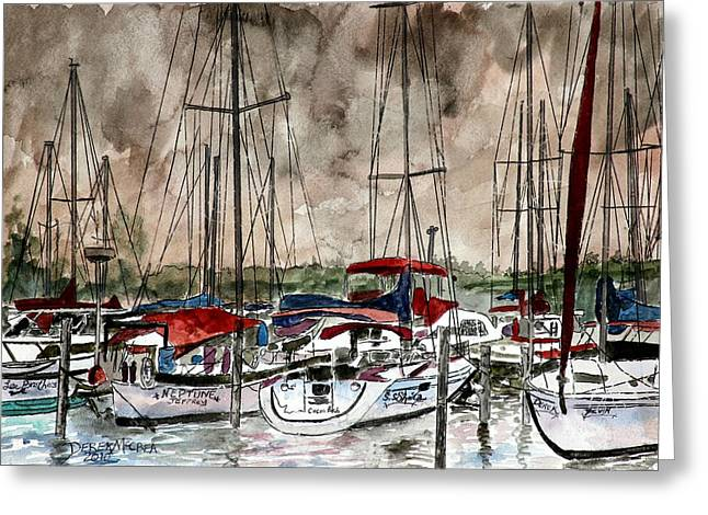 Boats In Water Drawings Greeting Cards - Sailboats At Night Greeting Card by Derek Mccrea