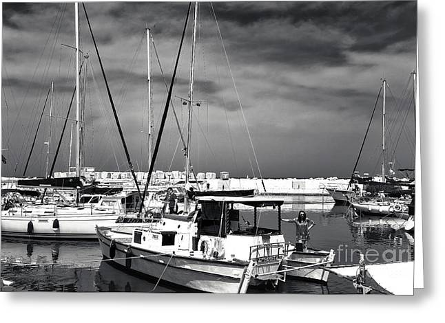 Sailboat Images Greeting Cards - Sailboats in Jaffa Port Greeting Card by John Rizzuto