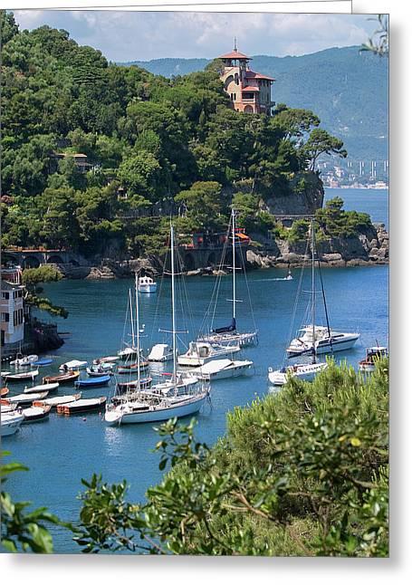 Sailboats In Portofino Greeting Card by Al Hurley