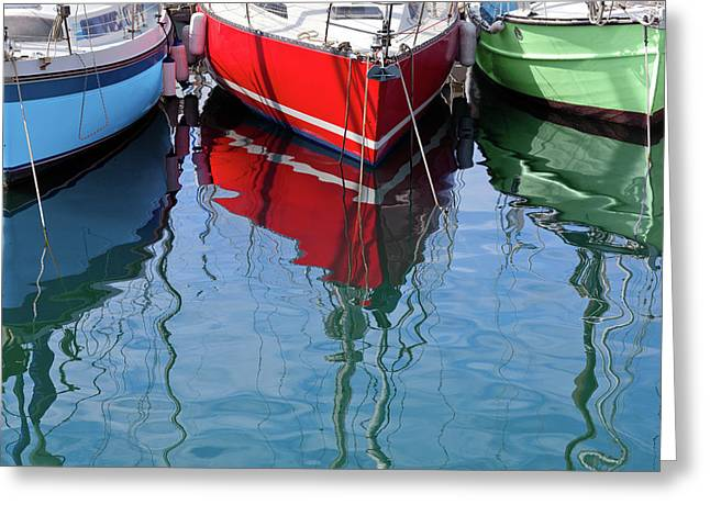 Sailboats In Rgb Greeting Card by Al Hurley