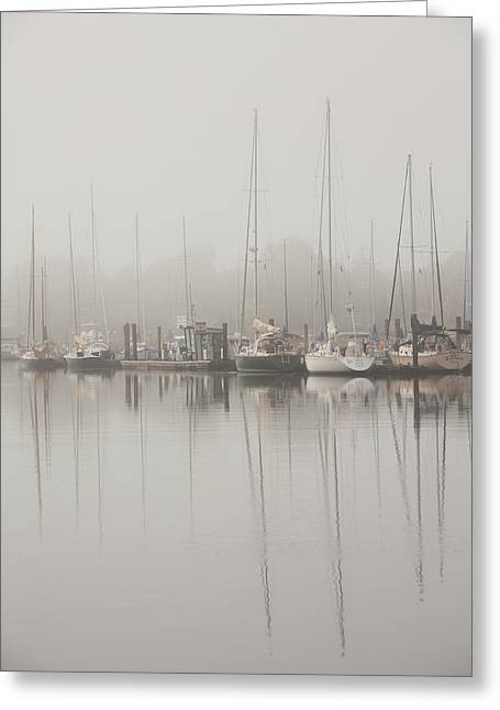 Sailboats In Water Greeting Cards - Sailboats In Stillness Greeting Card by Karol  Livote