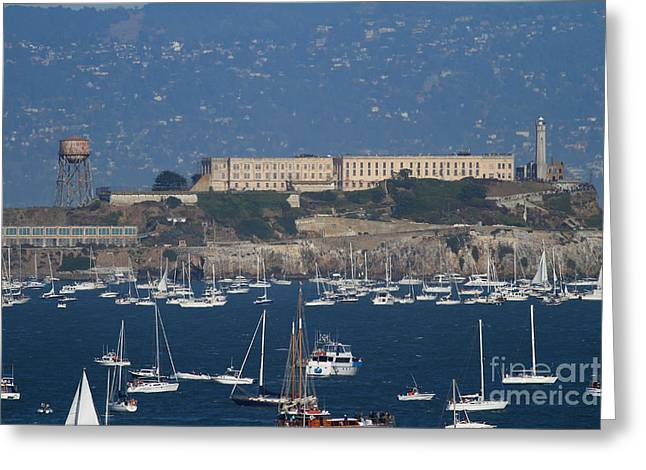 Alcatraz Lighthouse Greeting Cards - Sailboats In The San Francisco Bay Overlooking Alcatraz . 7D8080 Greeting Card by Wingsdomain Art and Photography