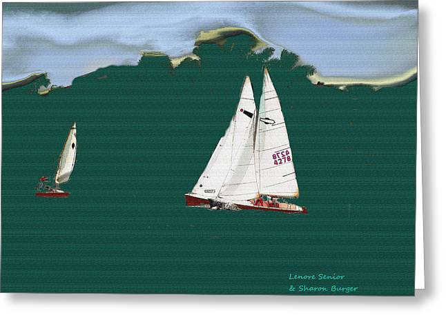Masts Mixed Media Greeting Cards - Sailboats Greeting Card by Lenore Senior and Sharon Burger