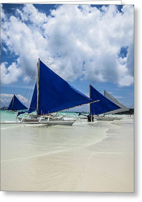 Sailboat Ocean Greeting Cards - Sailboats on Boracay Beach Greeting Card by Mark Sellers