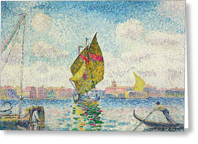Sailboats On Giudecca Or Venice, Marine Greeting Card by Henri-Edmond Cross