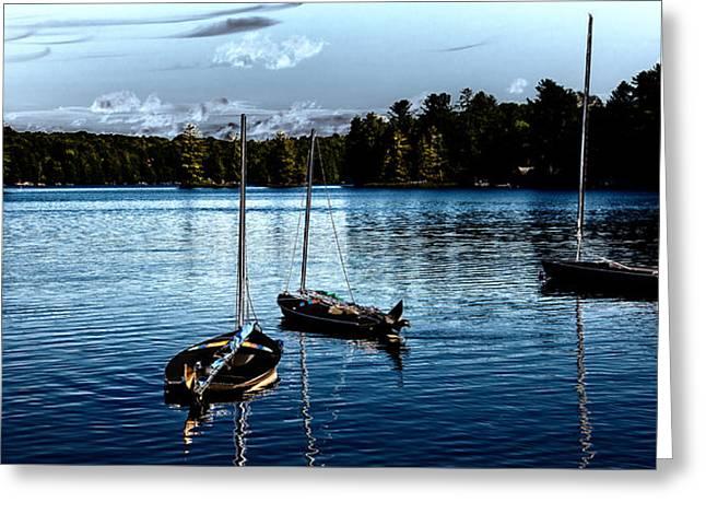 Docked Sailboat Digital Greeting Cards - Sailboats on the Lake Greeting Card by David Patterson