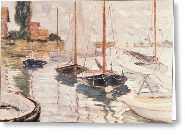 Docked Sailboats Paintings Greeting Cards - Sailboats on the Seine Greeting Card by Claude Monet