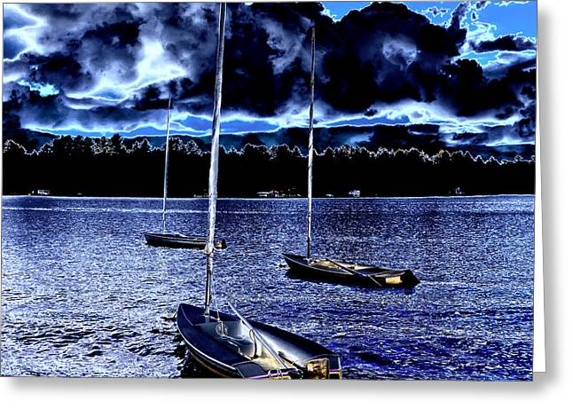 Sailboats Docked Greeting Cards - Sailboats on White Lake Greeting Card by David Patterson